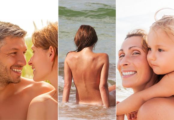 Imagen de familias nudistas