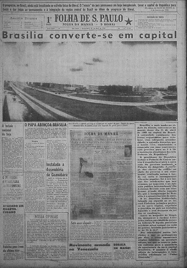Principais jornais exaltavam inauguração de Brasília - 4