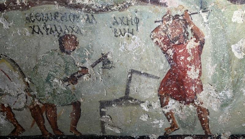 """Resultado de imagem para Arqueólogos descobrem """"história em quadrinhos"""" de dois mil anos em tumba"""