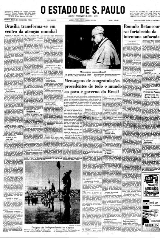 Principais jornais exaltavam inauguração de Brasília - 6
