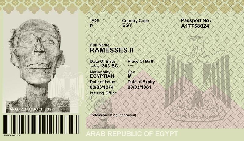 Resultado de imagem para O faraó Ramsés II precisou tirar passaporte 3.000 anos depois de morto